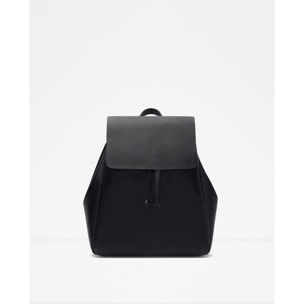 Zara Backpack With Foldover Flap ($30) ❤ liked on Polyvore featuring bags, backpacks, black, rucksack bag, backpacks bags, white backpack, white bags and zara bag