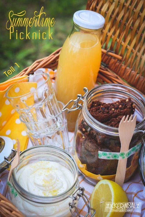 Picknick Korb mit Limonade - Mascarpone Creme und Schoko Cantuccinis