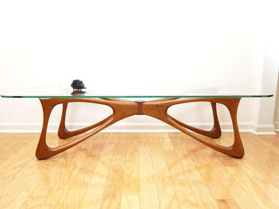 Biomorphic Walnut Coffee Table - Kagan / Pearsall Era, Mid-Century Danish Modern Butterfly