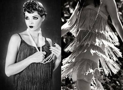 Era l'età del jazz, del charleston e delle famose flapper-girls, che indossavano abiti con frange di stoffa o di perline e ballavano ipnotizzando, con l'ondulare delle frange, ogni uomo nelle vicinanze.