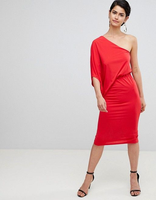 e531fb8a89b5 Find the best selection of ASOS DESIGN one shoulder drape pencil dress. Shop  today with free delivery and returns (Ts&Cs apply) with ASOS!