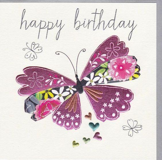 Happy birthday purple butterfly