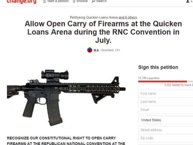 20,000 sign petition to allow guns at Republican National Convention.  What could possibly go wrong?
