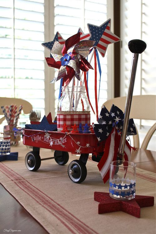 Red Wagon Patriotic Table Centerpiece | Home, Freedom and ...