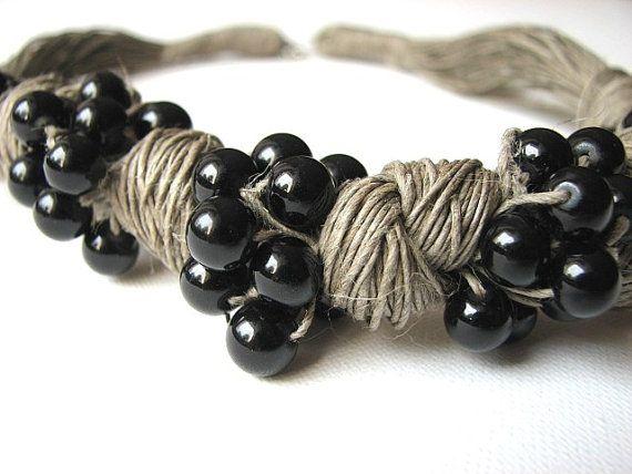 Schleife schwarz  Leinen Halskette von GreyHeartOfStone auf Etsy