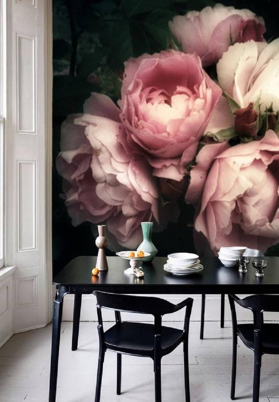 Large Flower Wallpaper Large Flower Mural Peel And Stick Etsy Black Floral Wallpaper Large Flower Wallpaper Wall Wallpaper
