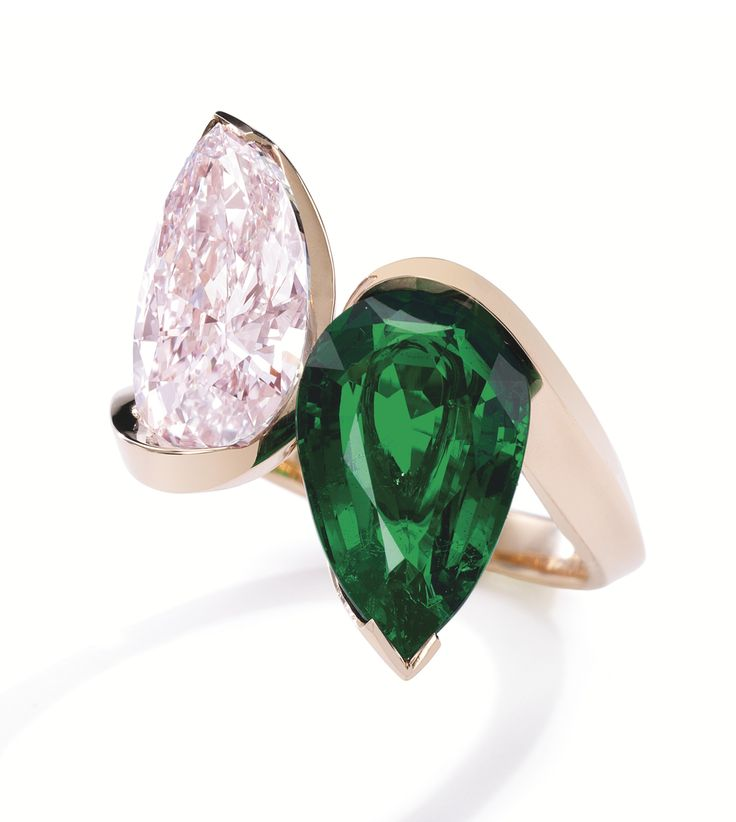 red gold fancy pink diamond and emerald u201ctoi et moiu201d ring olivier reza the pearshaped fancy pink internally flawless diamond of carats gracefully