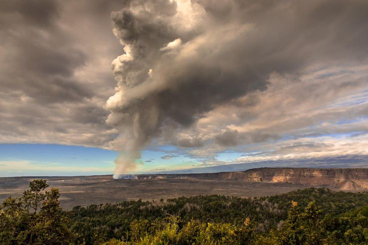 a picture of a smoldering volcano spewing smoke.  I used a circular polarizer to emphasize the smoke and clouds :)