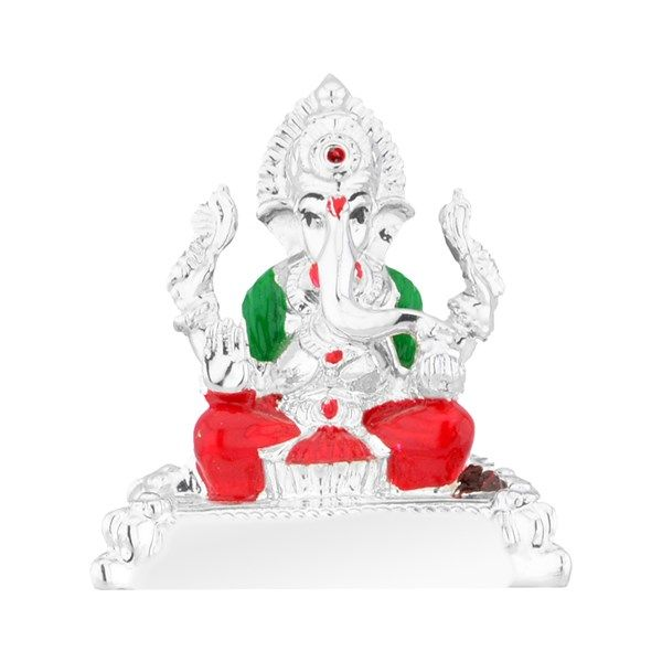 Jpearls Silver Plated Ganesh Idol | Silver Murtis / Statues of Indian Gods