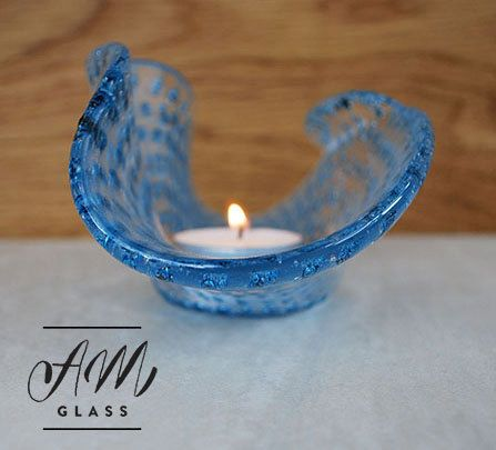 Glass Candle HolderHandmade fused glass candle by AMGlassStudio
