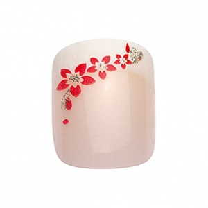 PEGGY SAGE MANI KIT 24 UNGHIE FINTE IDYLLIC NAILS RED FLOWERS - SATURNOStore