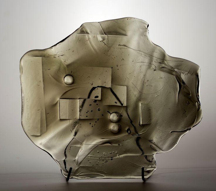 Lubomir Blecha, glass relief, 1969, glassworks Borske Sklo, Novy Bor (Haida), M: 40,0 x 43,0 cm, Czechoslovakia