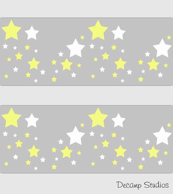 Star Baby Nursery Yellow Gray Wallpaper Border Wall Art Decals Neutral Kids Celestial Room Decor Papel De Parede Cinza Cinza E Amarelo Ideias Parede