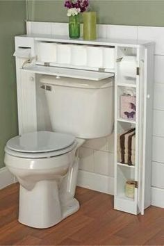 Features: -Bathroom space saver. -Doors are designed in beadboard style. -One paper holder, one fixed shelf and two adjustable shelves are inside each side cabinet. -Pull-down door at the center f