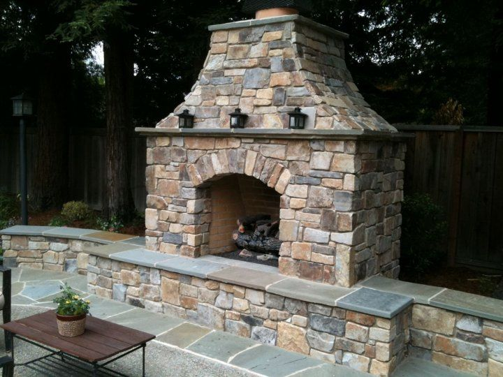 My Yard Is Going To Need An Outdoor Fireplace I Like The Raised Hearth So Yo