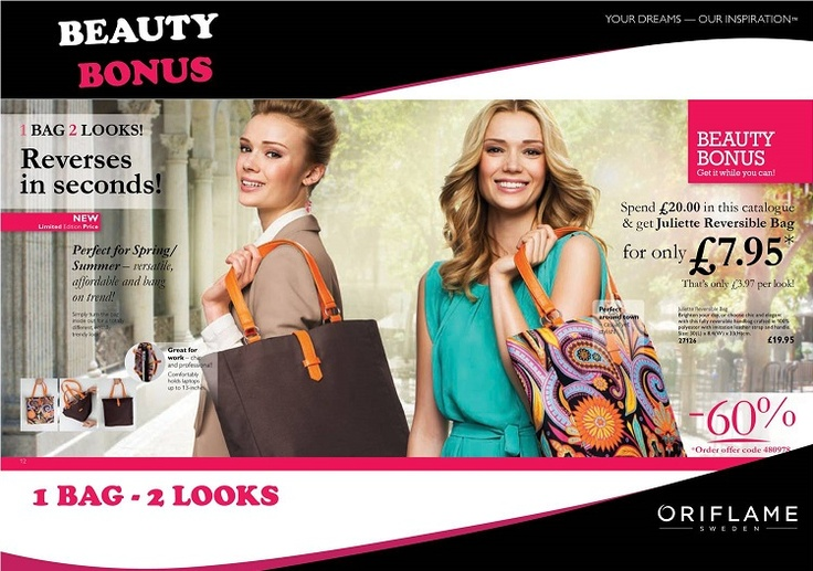 BEAUTY BONUS BAG  Spend just £20 in the Catalogue and get the Juliette Reversible Bag for only £7.95  This would be a fabulous added extra for the beach and ideal for carrying your lotions in, in fact you would only need to take 1 bag away with you as this chic and stylish bag is reversible. Just turn the bag inside out for a totally different look that takes you from day to night.