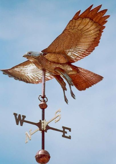 Hawk weathervane, Red-Tailed-Hawk Weather-Vane comes in 4 sizes. $1,350 for the small.