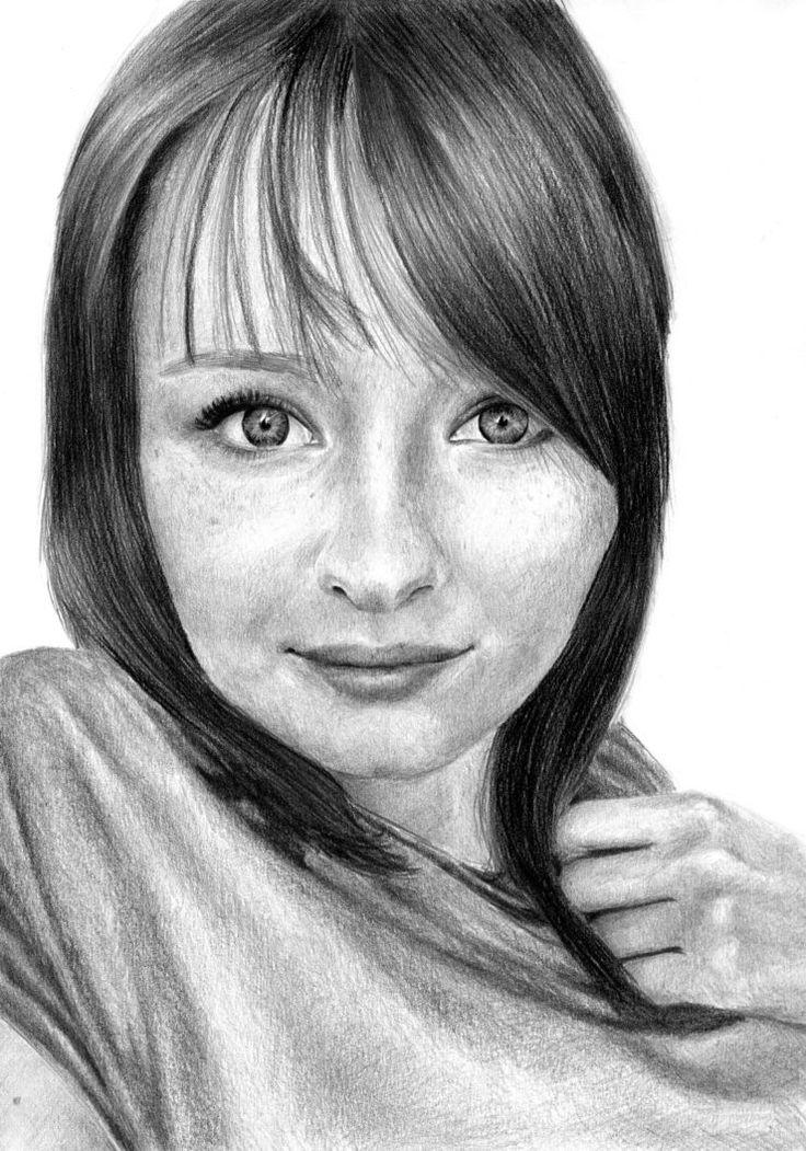 Rysunek olowkiem kobieta