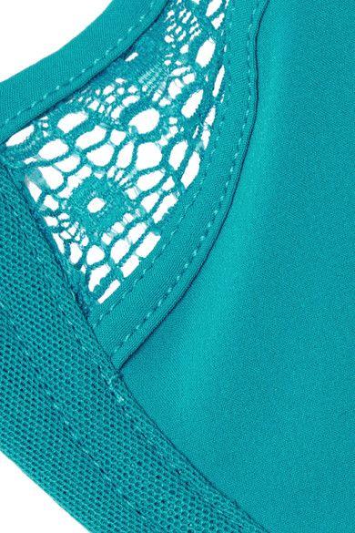 Elle Macpherson Body - Edge Lace And Mesh-trimmed Stretch-jersey Plunge Bra - Cobalt blue - 32C