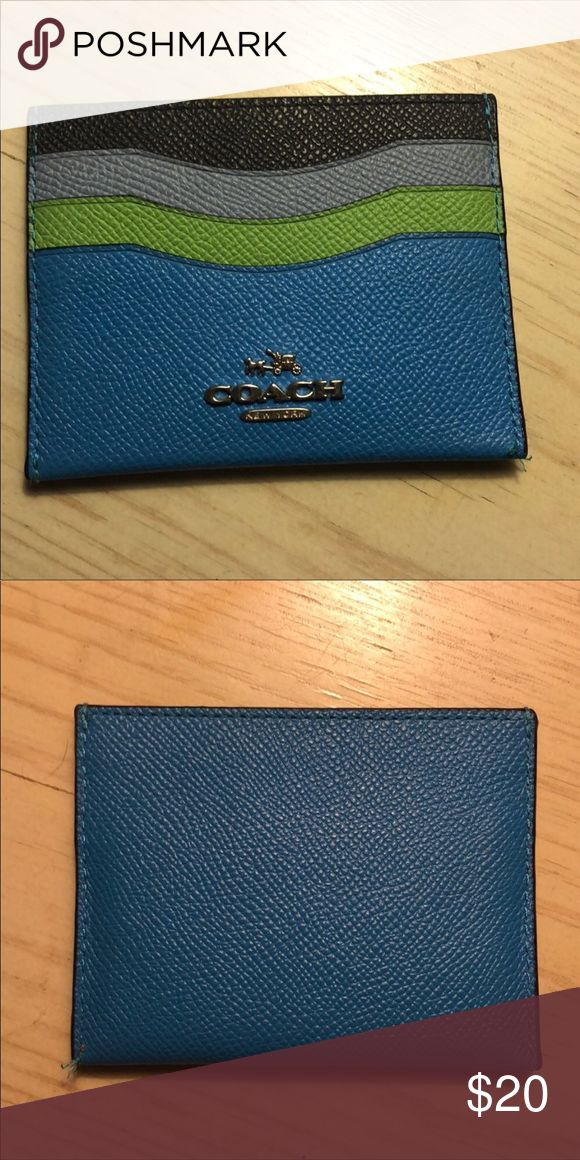 COACH CREDIT CARD HOLDER This blue, green, gray and black Coach credit card hold…