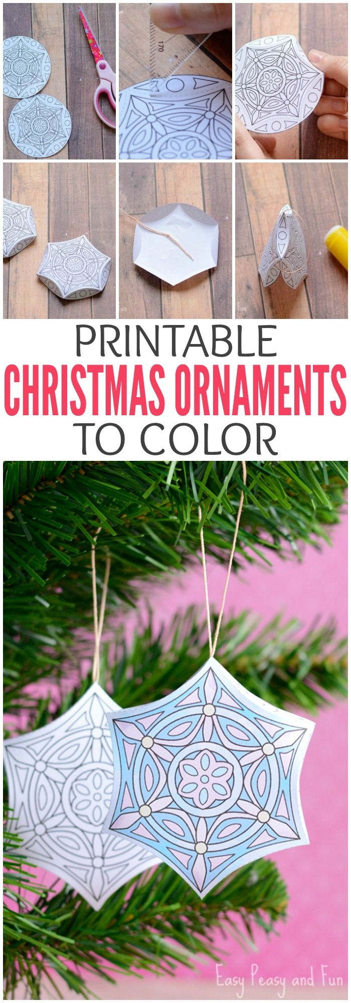 Printable Christmas Ornaments to Color for Adults and Older Kids