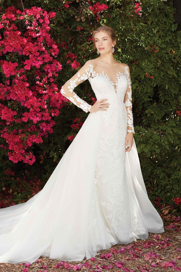 Bridal water lily 2226 wedding dresses photos brides com - Mysterious Wisteria Features An Elaborate Lace Pattern That Covers The Illusion Bateau Neckline And Short Sleeves Which Encases A Plunging V Shaped