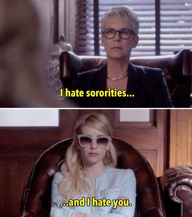"When Jamie Lee Curtis cut Emma Roberts down like this. | 25 Instantly Iconic Moments From The ""Scream Queens"" Trailer"