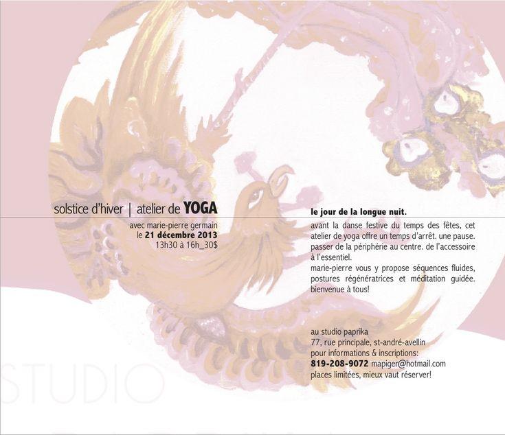 solstice d'hiver, atelier de yoga - #YogaEvent in St Andre Avellin QC, Canada on Saturday, Dec 21 - 2013