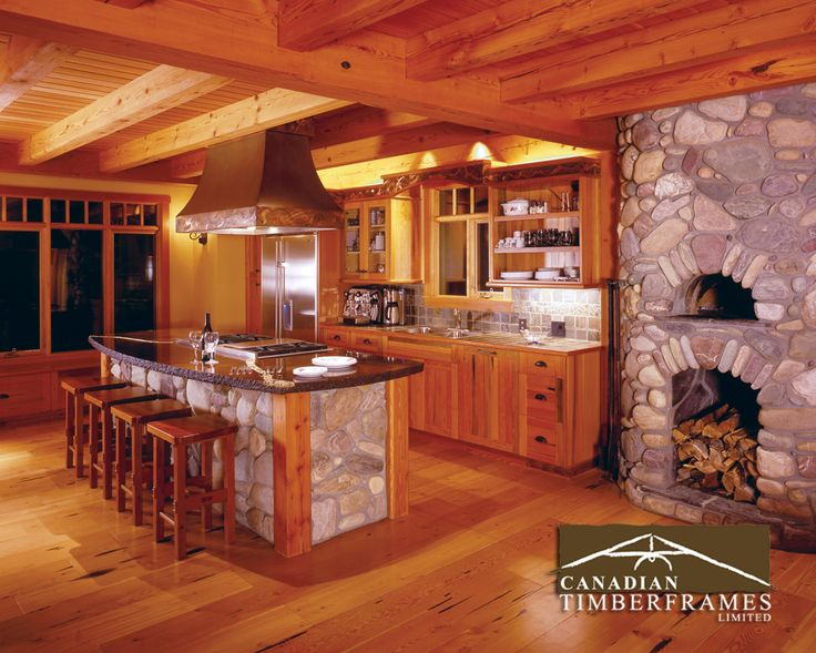 cooking and entertaining made easy in this timber frame space