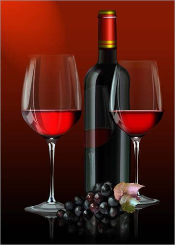 Image Red wine, red wine bottle with two glasses of red wine and grapes – Kalle60: Finition : surface mate, bord (arrête en aluminium)…