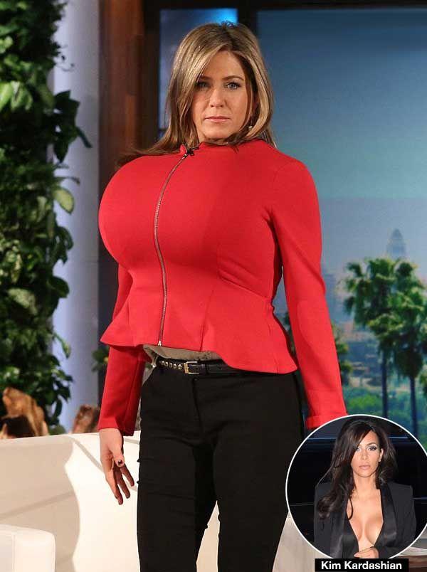 Jennifer Aniston Mocks Kim Kardashian Again With 'Fake' Boobs