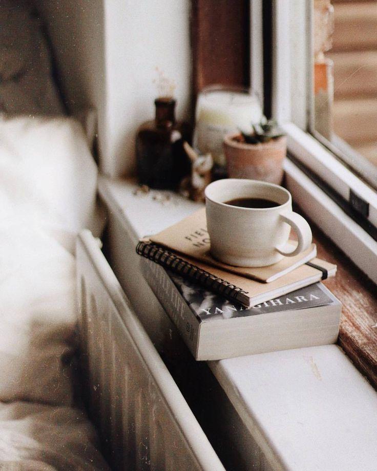фото кофе весной у окна растительного происхождения, именно