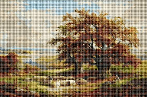 Shepherd & his Flock English Landscape Counted Cross Stitch Pattern / Chart, George Turner, Instant Digital Download  (ABA020)