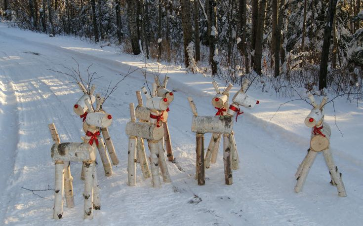 The deer herd. Made with the E-Z Log Tenon Cutter out of birch logs.