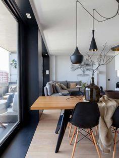 matte black and blonde wood interior design