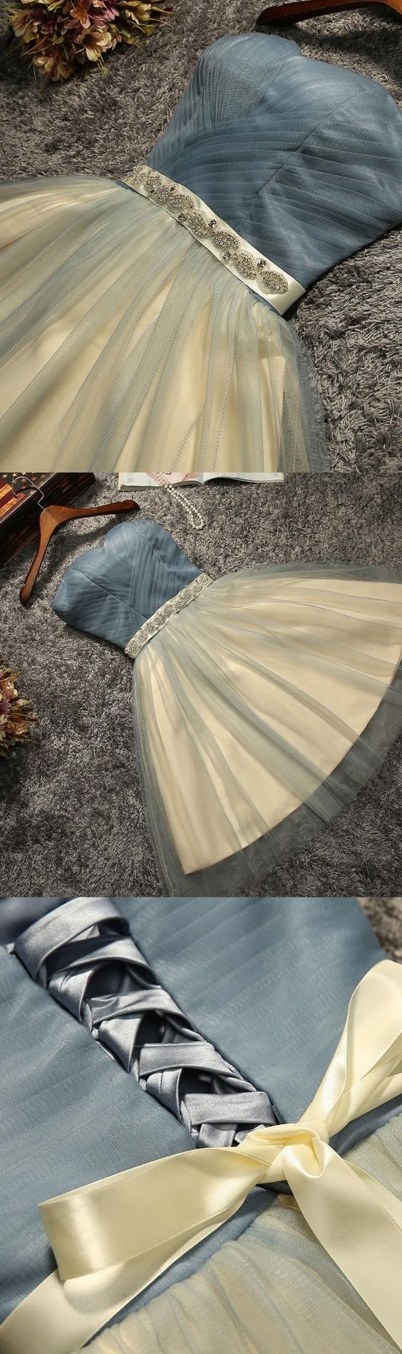 Mini Prom Homecoming Dress Short Light Blue Dresses With Lace Up Bowknot Strapless Fancy Prom Dresse M1639