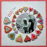 Single page scrapbook layout 1 circle photo hearts valentines