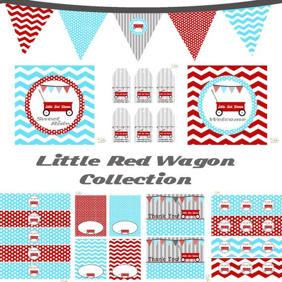 Little Red Wagon Decorations for Birthday Party or by BeeAndDaisy, $12.00