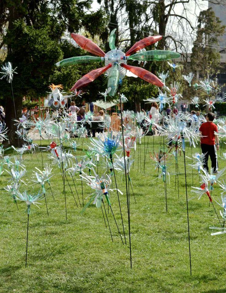 bloemen van plastic flessen