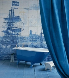 Blue and white - Delft tiles mural