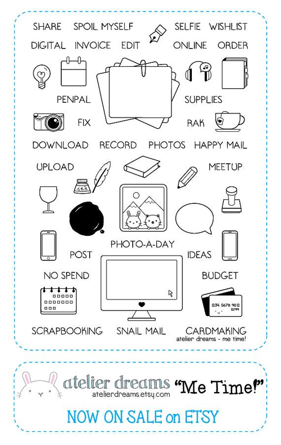 Me Time - Planner Stamps (Photopolymer Clear Stamps) Wax Stamp, phone stamp, imac stamp, camera stamp