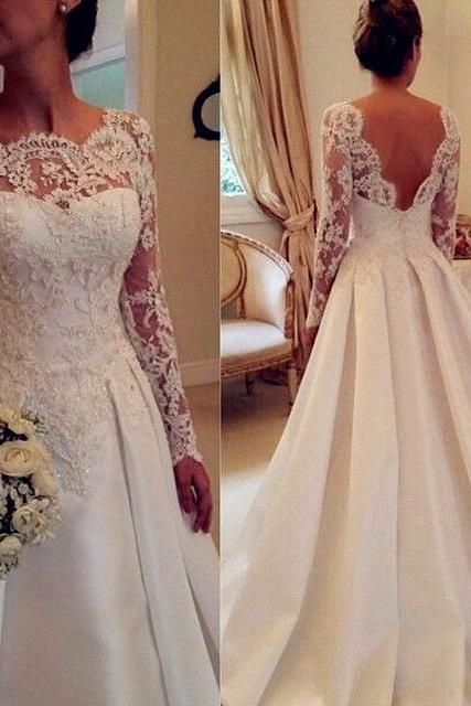 Newest Long Sleeve Wedding Dresses, A-Line Lace Wedding Dresses ,Backless Wedding Dress, Wedding Dresses, Dresses For Wedding