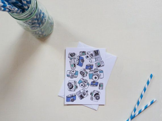 Blue Camera Pattern Greeting Card by RachelAliHawkins on Etsy