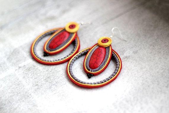 Colorful Soutache Hoop Earrings, Red Hoop Earrings, Gypsy Earrings, Red Bohemian…