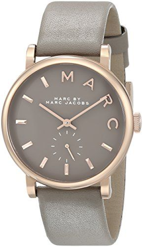 cool Marc by Marc Jacobs Women's MBM1266 Baker Rose-Tone Stainless Steel Watch with Grey Leather Band