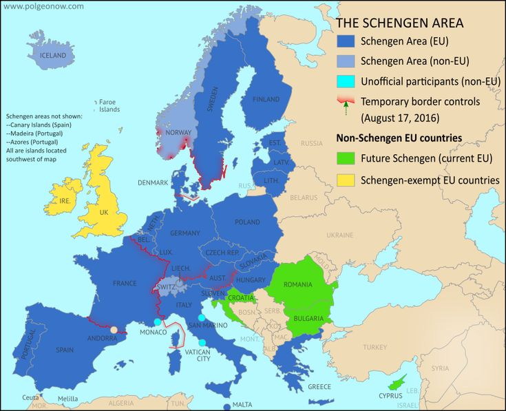 Map of Temporarily Reintroduced Border Control in the Schengen Area (the European Union's border-free travel zone) in August 2016, color-coded for EU Schengen countries, non-EU Schengen countries, future Schengen countries, and Schengen-exempt EU countries, as well as microstates unofficially participating in the Schengen agreements (colorblind accessible).