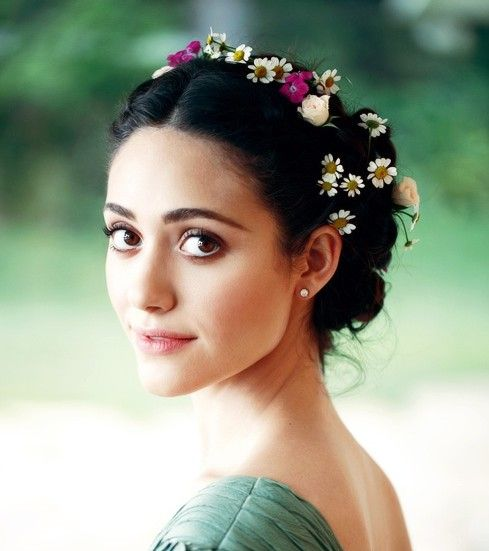 #hair - Emmy Rossum romantic updo ethereal grecian hair makeup beauty hairstyle