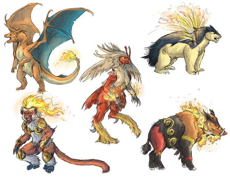 Realistic Pokemon Sketches: Fire Final Evolutions by ReneCampbellArt.deviantart.com on @deviantART