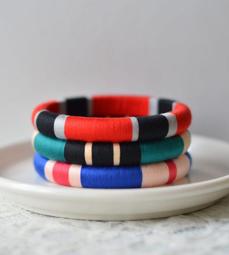 Set of 3 Thread Wrapped Bangle Bracelets - Jewel Tone