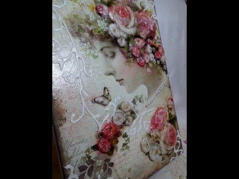 DIY-Mixed Media Canvas-Decoupage su tela a rilievo/3D-Decoupage Canvas